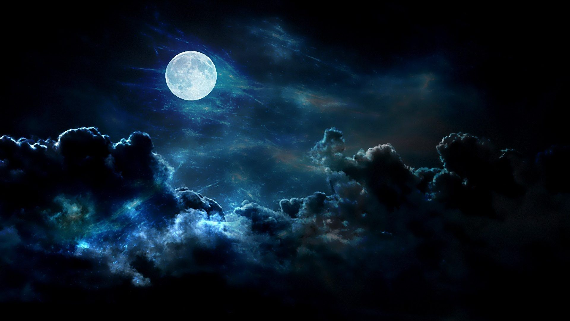 big blue clouds nature night moon skies full wallpaper
