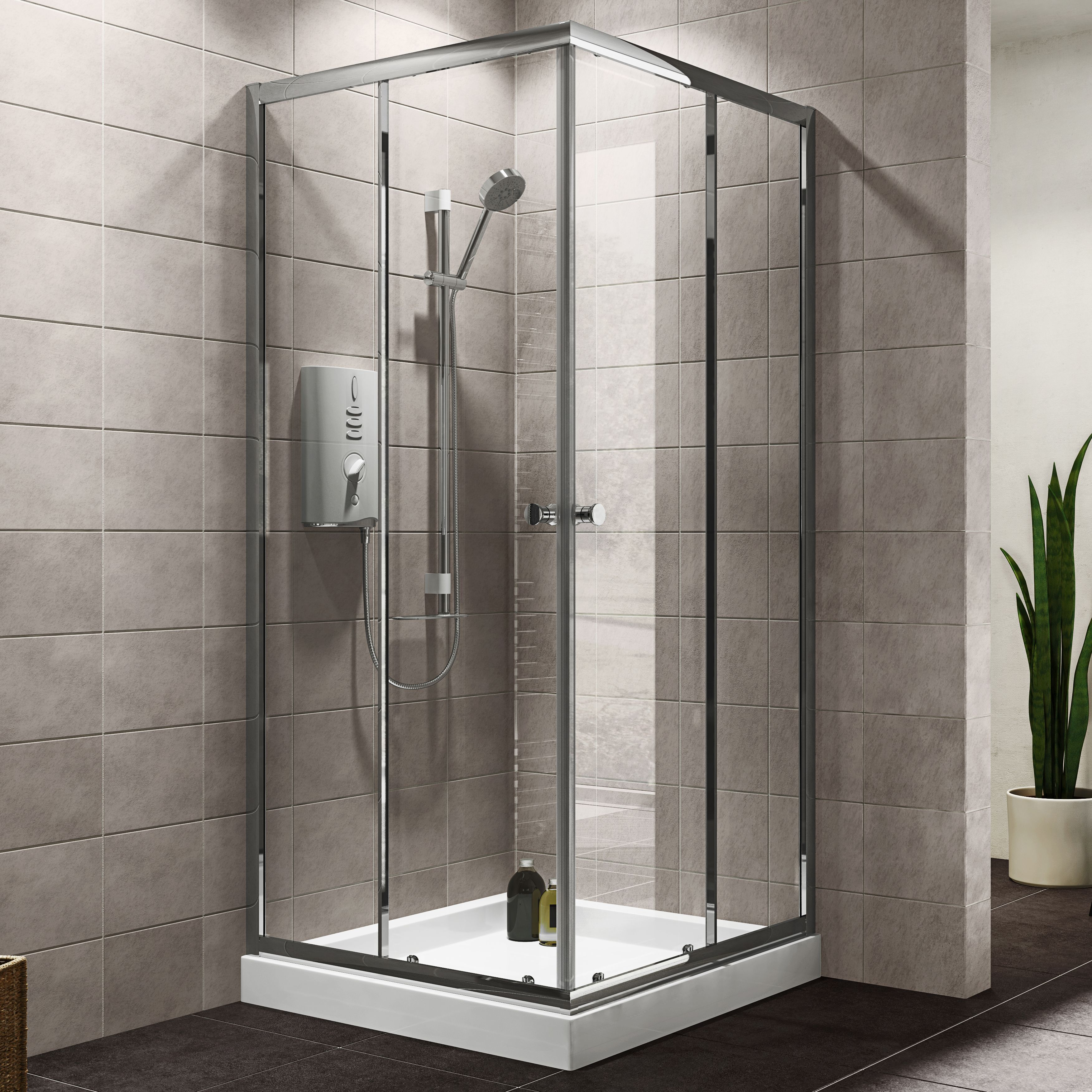 Plumbsure Square Shower Enclosure with Double Sliding Doors (W)800mm ...