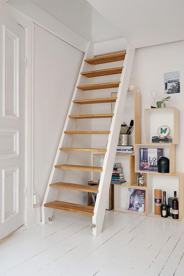 Ingeniosa distribución en 38 m² Escalera, Tiendas decoracion y Sótano