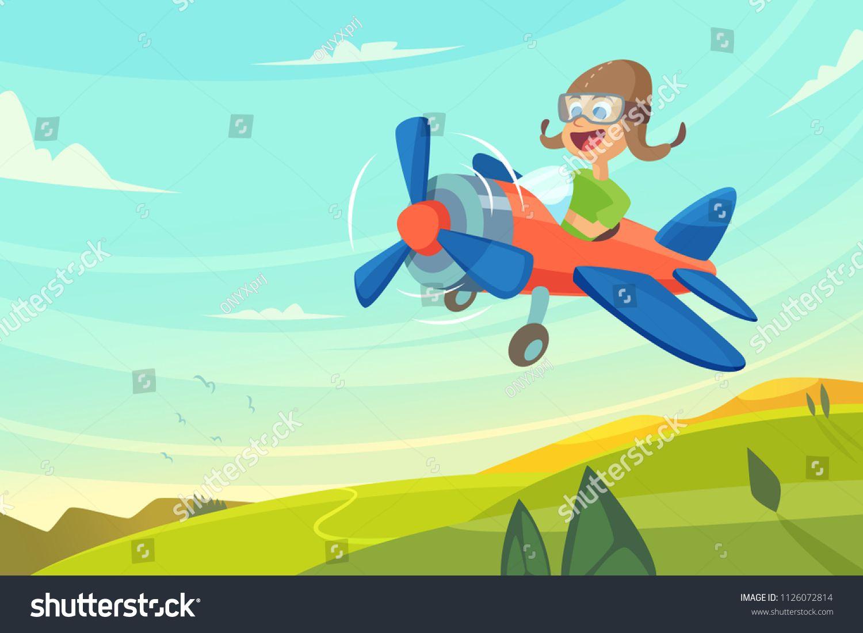Boy Flying In Airplane Funny Cartoon Illustration Airplane