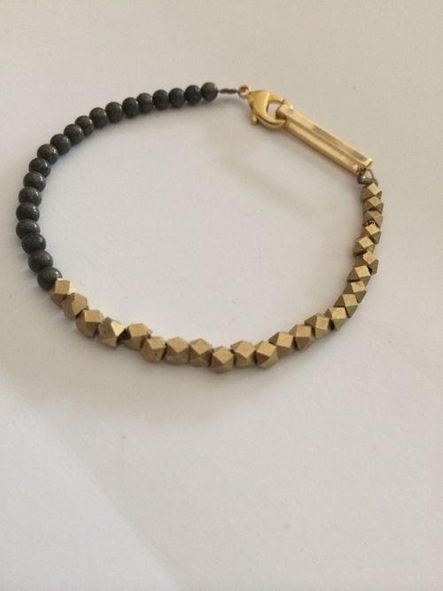 Faceted Br Beads And Pyrite Bracelet Rectangle Gold Clasp Rox 6 25
