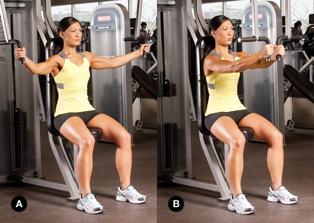 Machine Pec Flye Cable Workout Chest Workout Women Health Fitness Cat