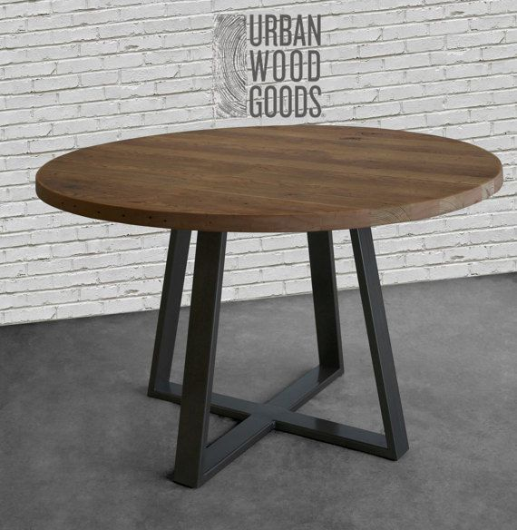 Round Dining Table With Reclaimed Century Old Lumber Top And Steel Legs In Your Choice Of Color Standard Is Colored But We Can Also Have