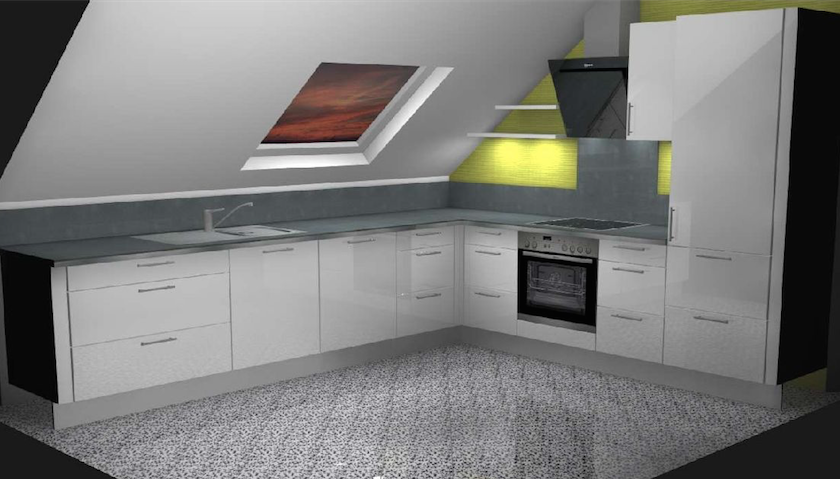 Küche im Dachgeschoss mit Schrägen design vom Küchenstudio Noack