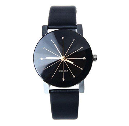 Très Montres pour femme,Hipzop Femmes Quartz Cadran Horloge cuir montre  EW01