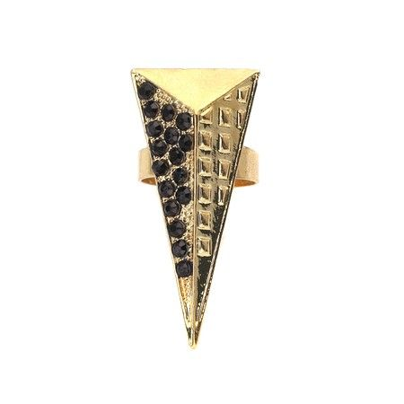 Golden Pyramid Black Crystal Ring!  http://www.inspiredsilver.com/ #InspiredSilver #Sparkle #Ring #PyramidRing #Jewelry #Sale