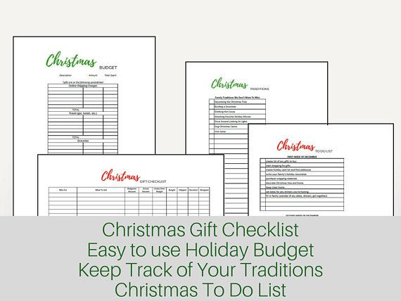 Holiday Budget Planner Christmas Budget Thanksgiving Budget