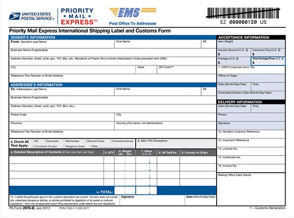 Priority Mail Express International Shipping Label And Customs