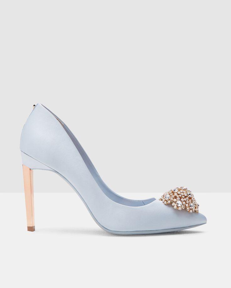 Brooch Detail Court Shoes - Light Blue