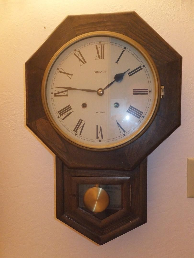Vintage ansonia school house regulator 31 day wall clock time vintage ansonia school house regulator 31 day wall clock time strike working with key good amipublicfo Image collections