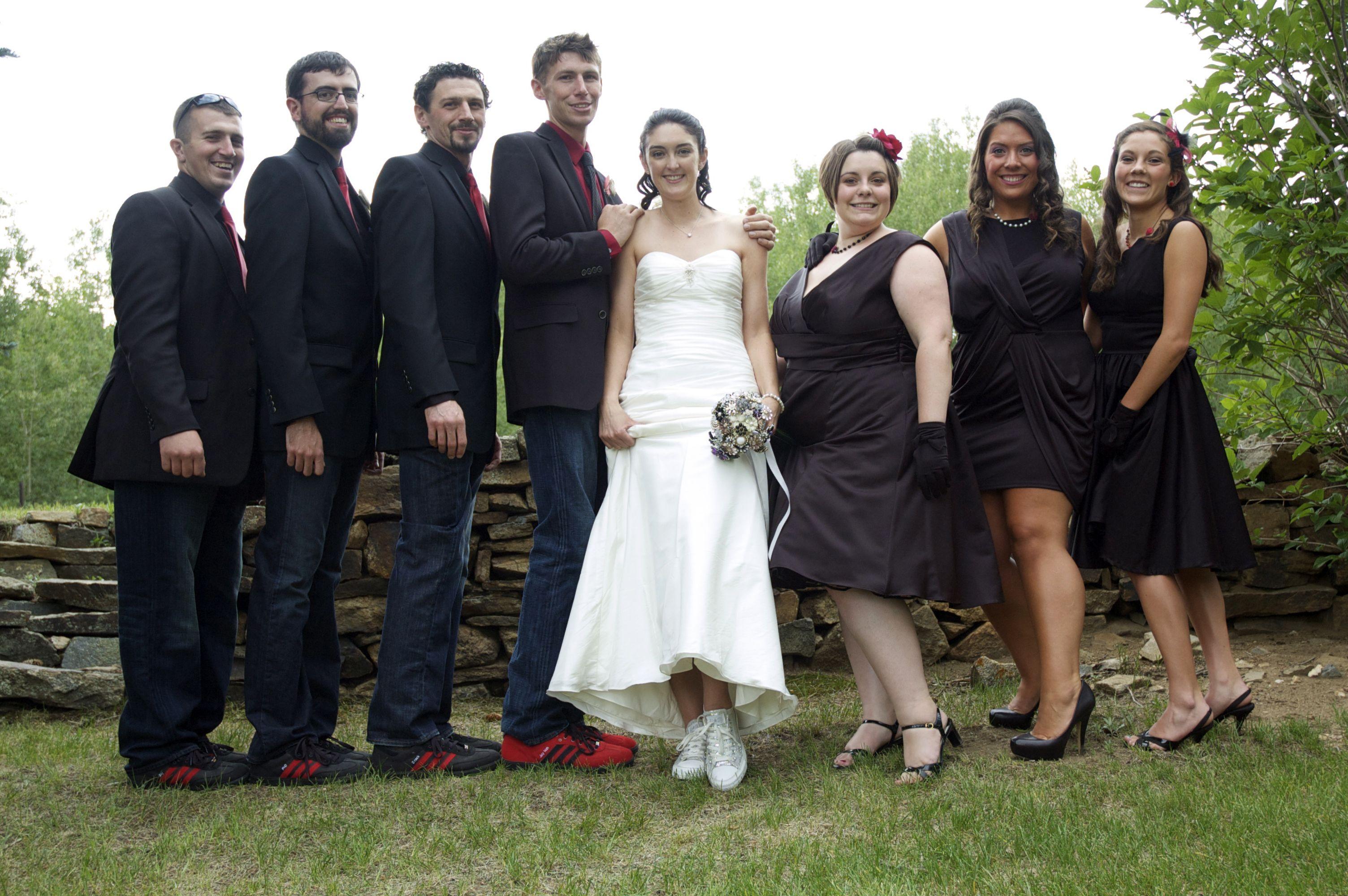 scarpe per i testimoni (adidas sambas), rosso e nero