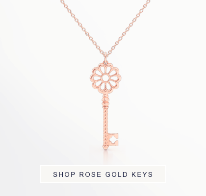 Bashert Jewelry Signature Key Pendants in Romantic Rose Gold. Free Shipping to all ordersin the USA.