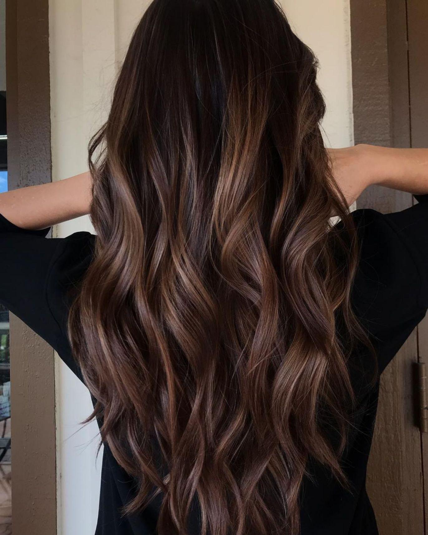 Long Wavy Chocolate Balayage Hair Long Brunette Hair Brown Blonde Hair Hair Styles