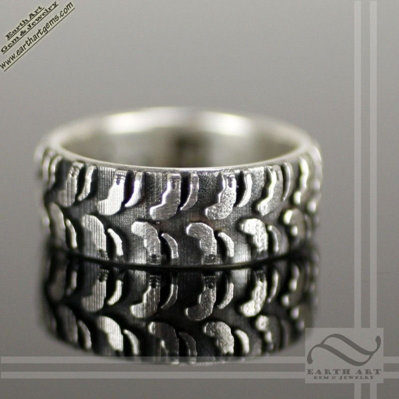 mud bogger solid sterling silver truck tire wedding band - Mud Tire Wedding Rings