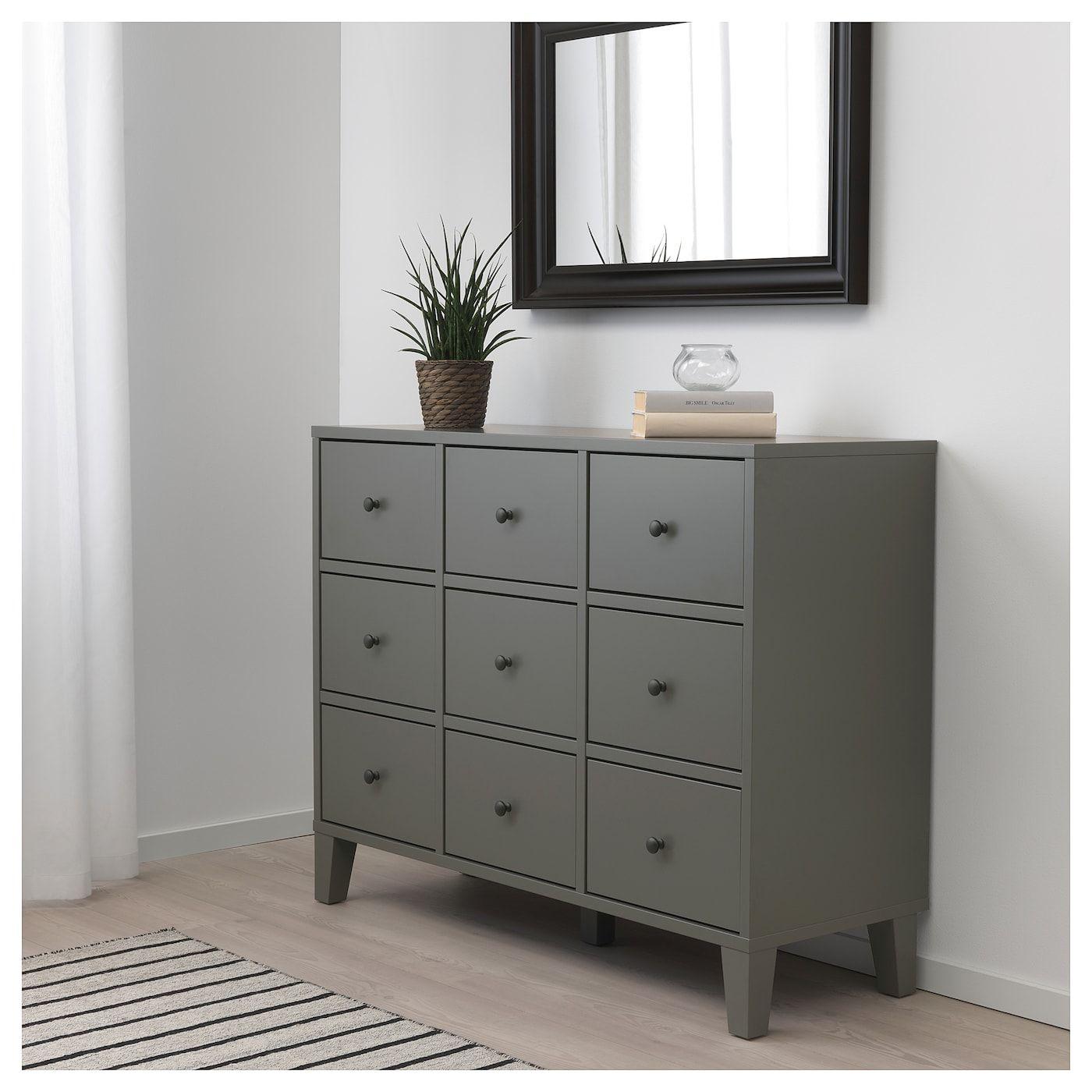 Bryggja 9 Drawer Chest Dark Gray 46 1 2x36 1 4 Bedroom Chest