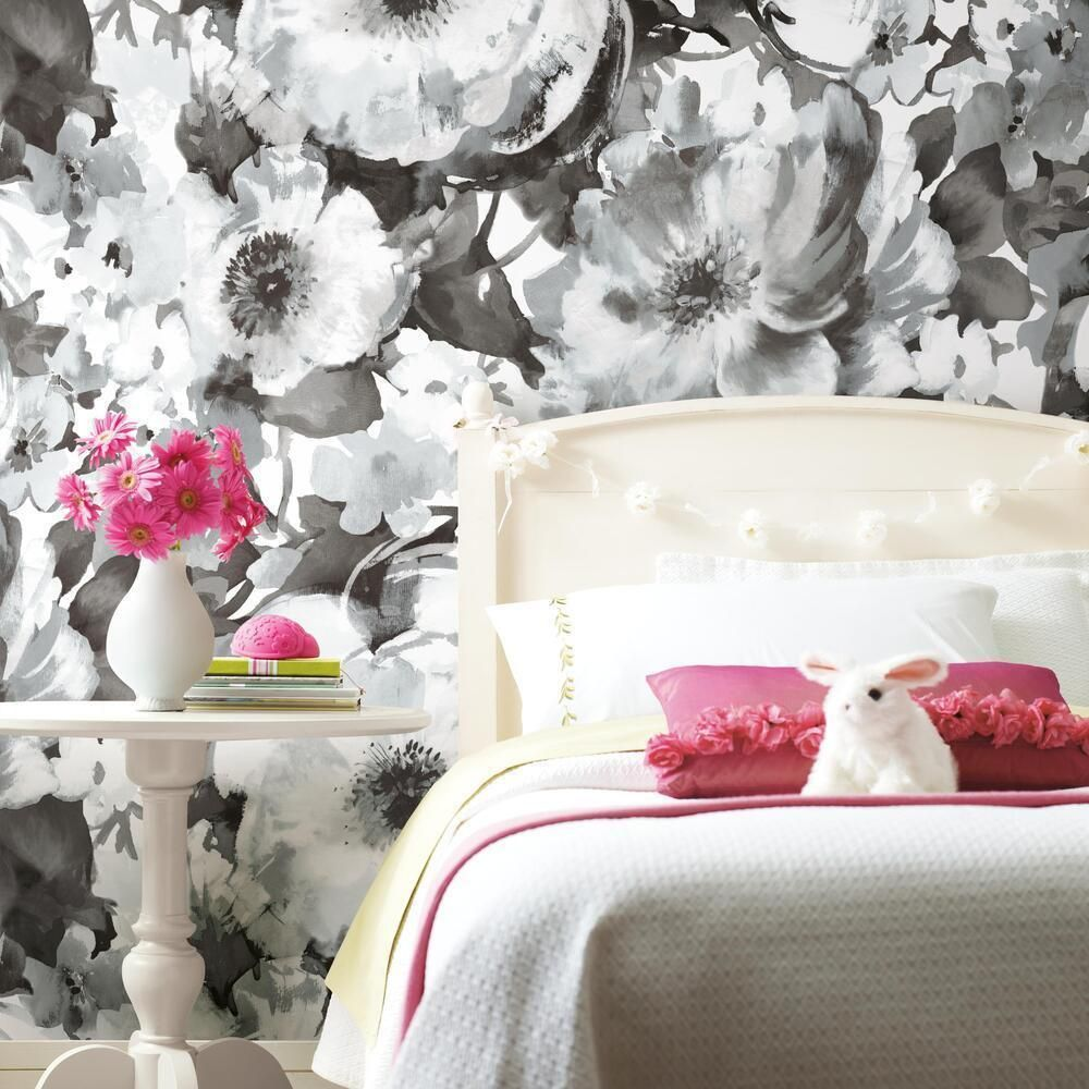 Watercolor Floral Peel And Stick Wallpaper Mural In 2020 Mural Wallpaper Peel And Stick Wallpaper Wall Coverings