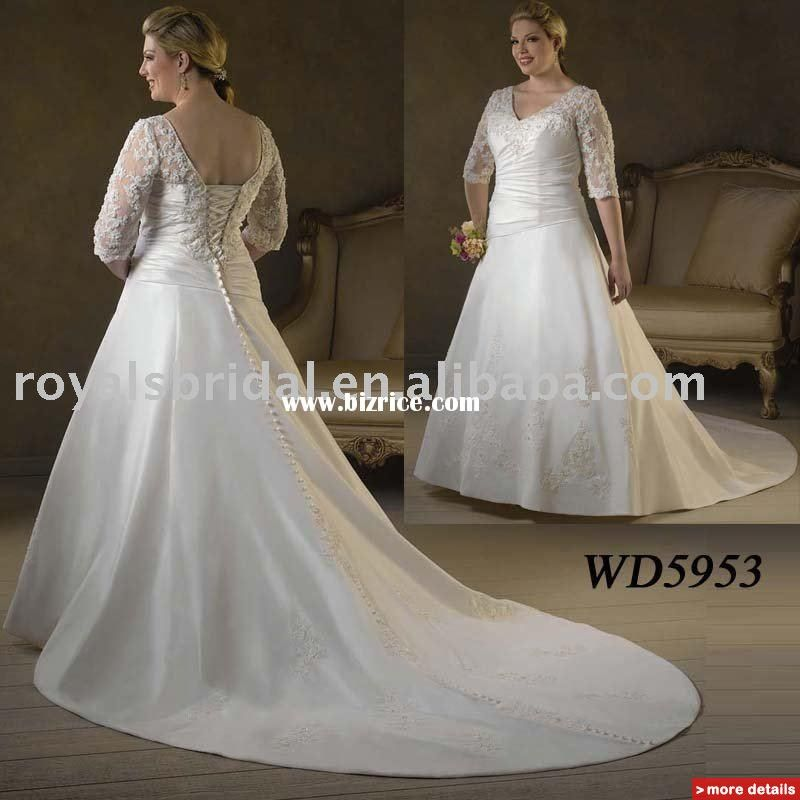 Plus Size Wedding Dresses With Sleeves And Color Bridal Gown