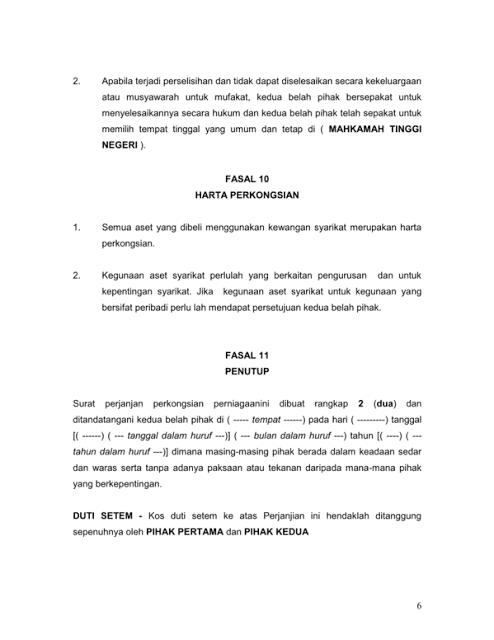 Contoh Surat Perjanjian Perkongsian Perniagaan Aku Dan Dunia Kita