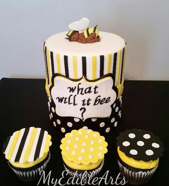 Bumble Bee What Will It Cake And Cupcakes With Matching Toppers