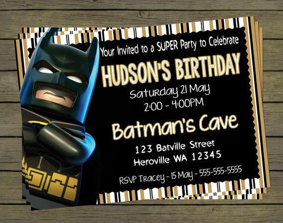 Lego Batman Digital Birthday Invitation  Hero by PYOpartyinvites