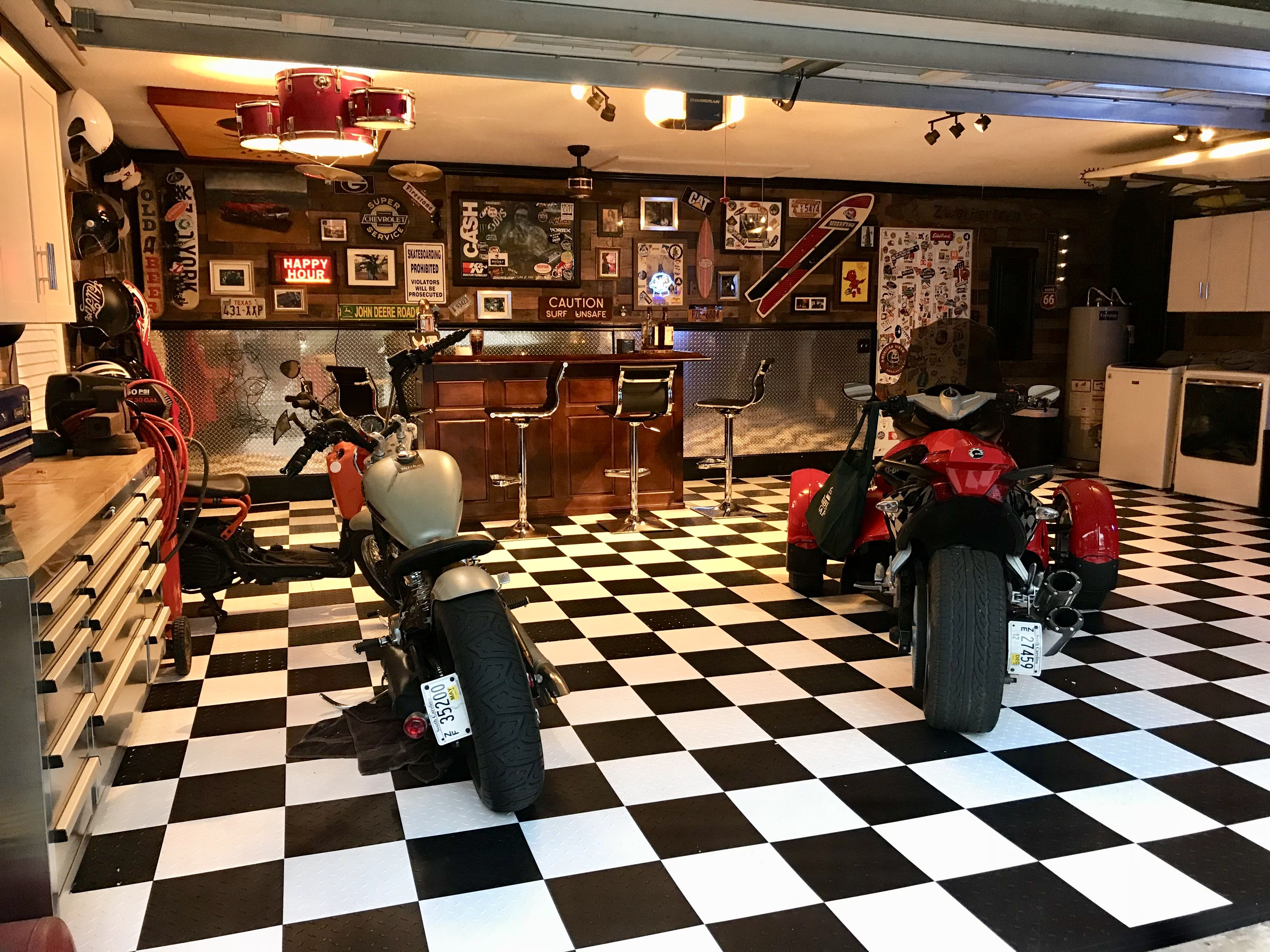 Black And White Checkerboard Garage Floor Man Cave Motorcycle