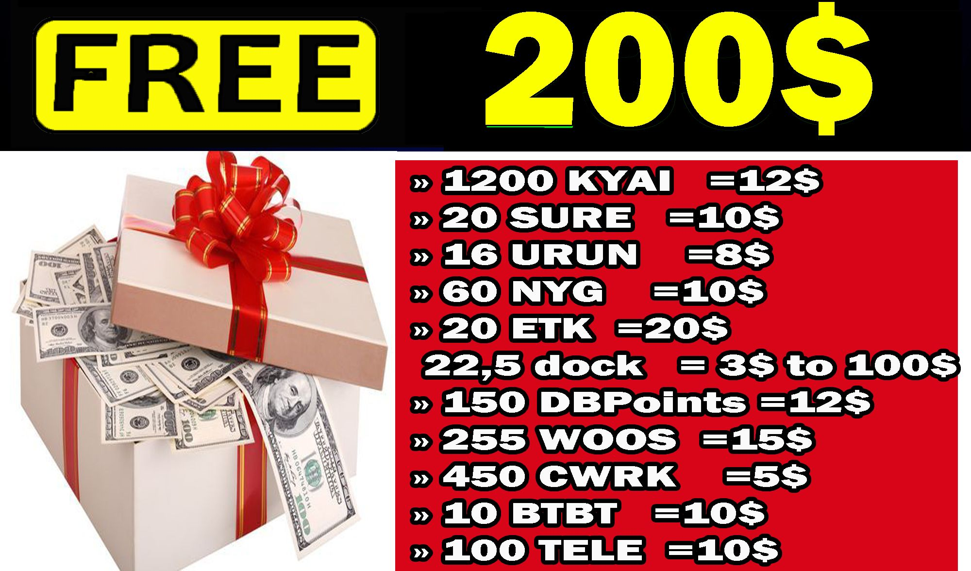 free airdrops 200 just signup + free 50 tokens