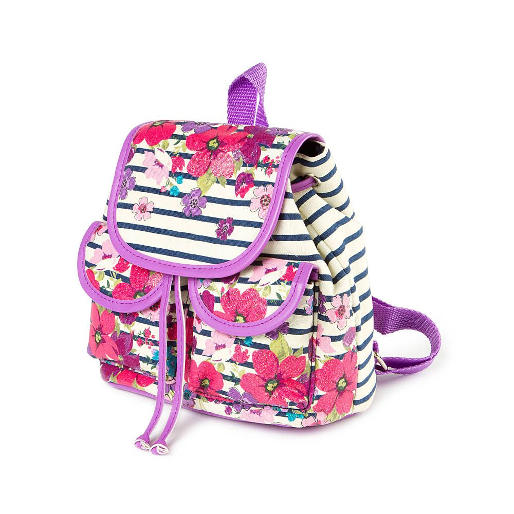 70268e2b1 Kids Striped Floral Mini Backpack | Claire's Mini Backpack, Black Backpack,  Hip Bag,