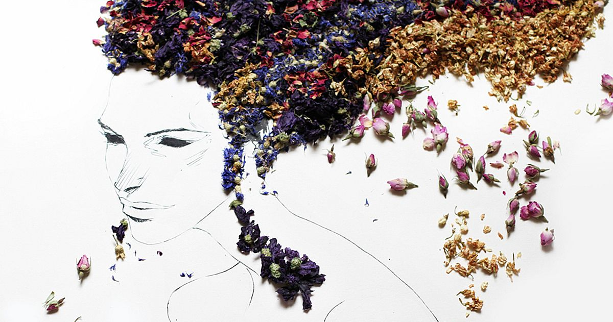 Beautiful portraits made of various herbs and dried