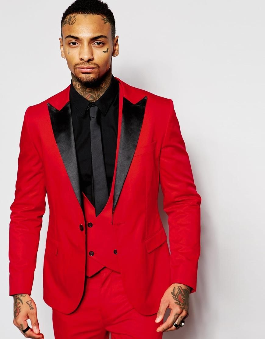 Fashion Red Mens Suits Black Peaked Lapel Three Pieces Groom Tuxedos Custom Made Slim Fit Groomsmen Wedding Red Tuxedo Groomsmen Suits Wedding Suits Groomsmen