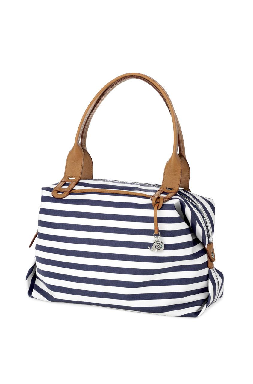Navy White Stripe Tote Bag Satchel How Does She Do It
