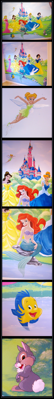 Princess mural on pinterest castle mural disney wall for Disney princess mini mural