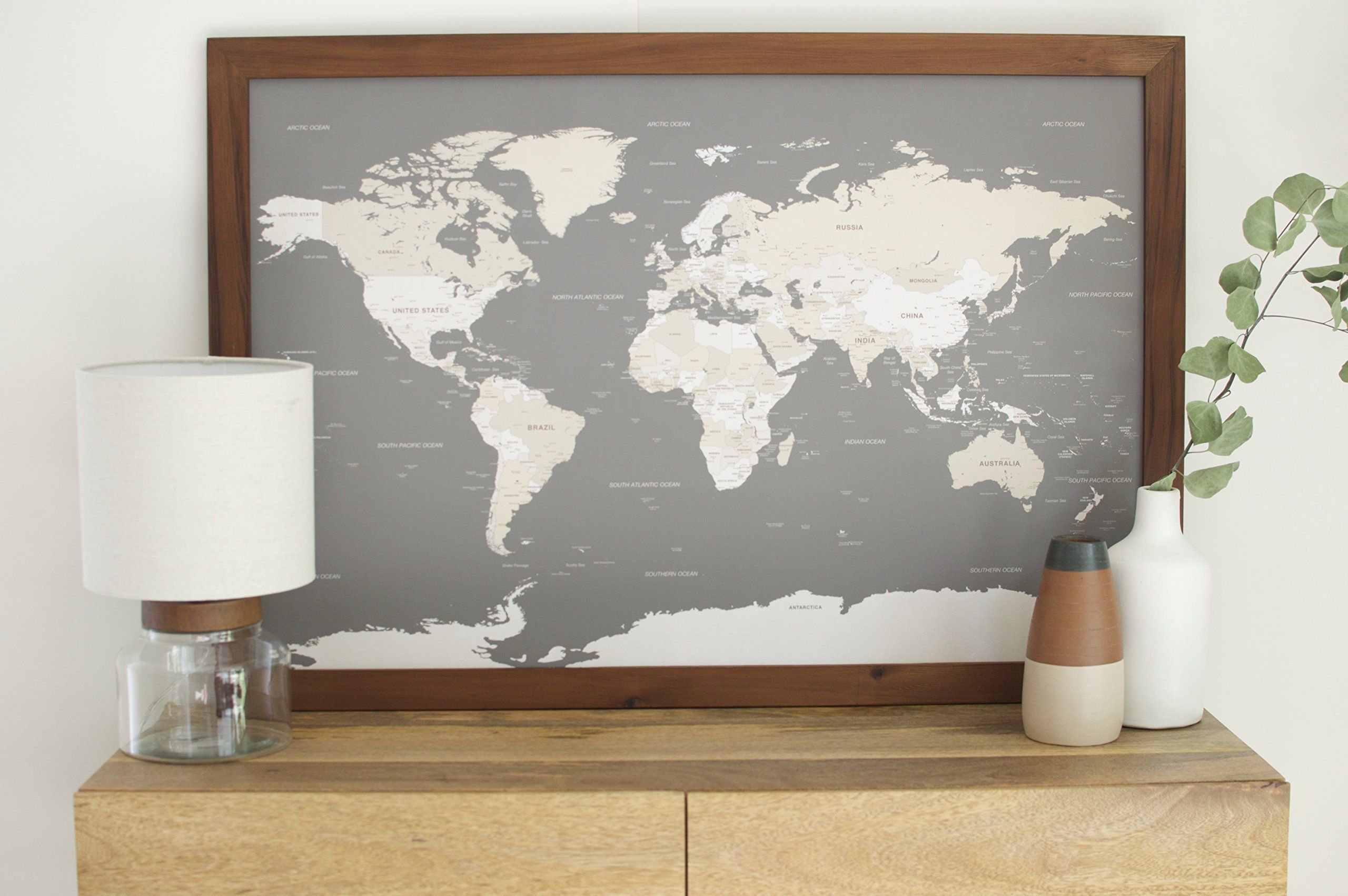 Classic world map large push pin travel map framed world map in large grey world push pin map classic frame gumiabroncs