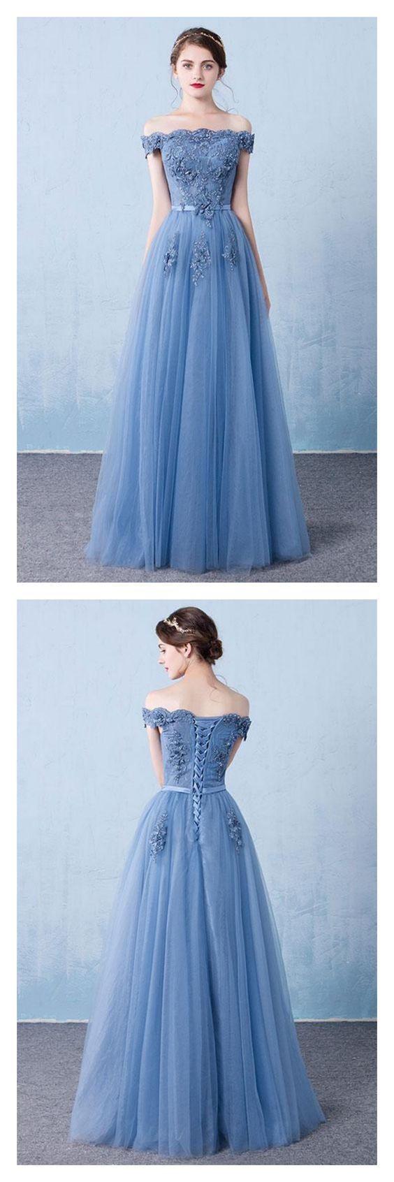 Elegant Off Shoulder Evening Dress, Long Tulle Prom Dresses,Party Dress With Applique