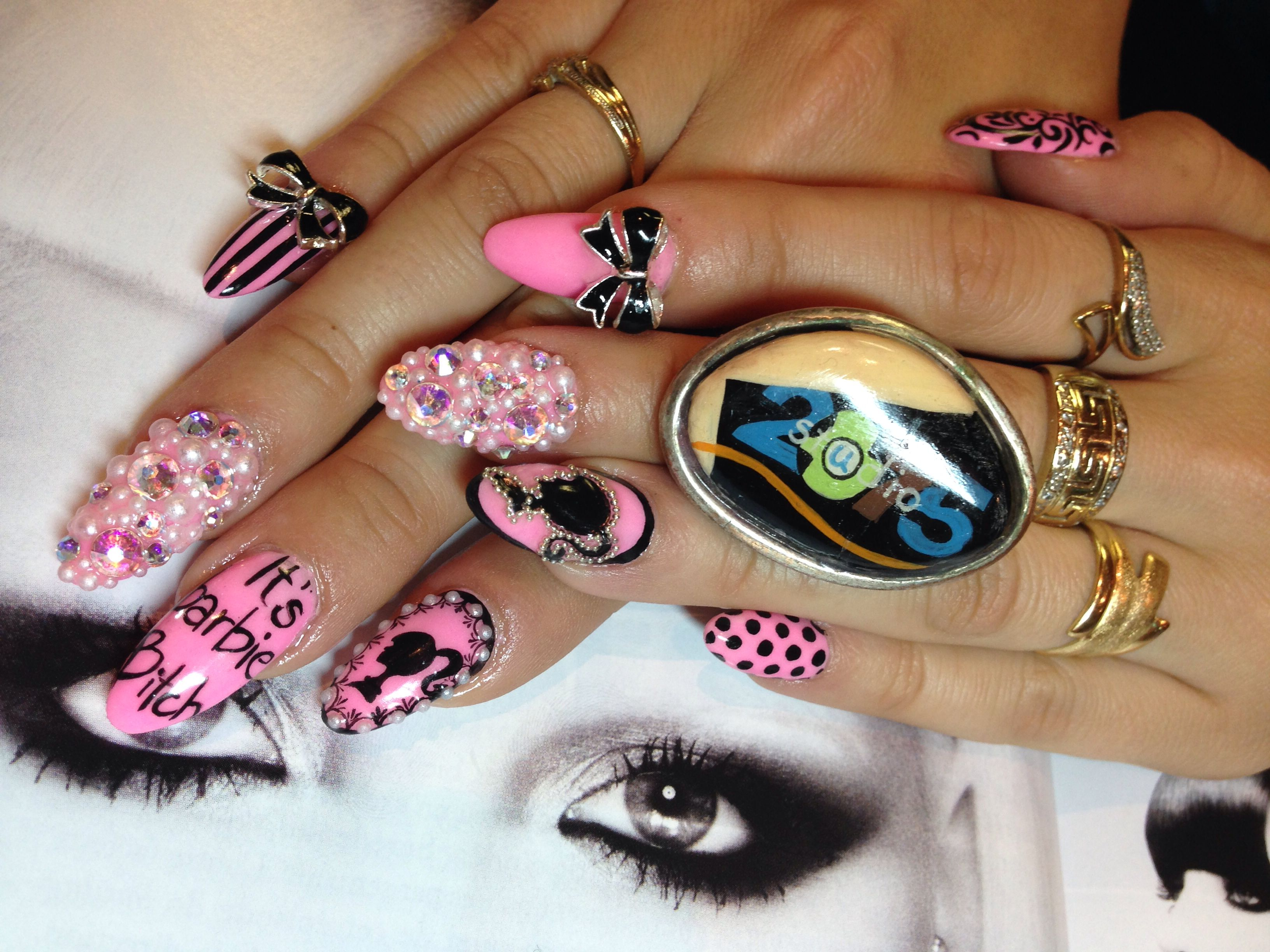 My NAILS art Valerie Ducharme creation Barbie nails in montreal ...