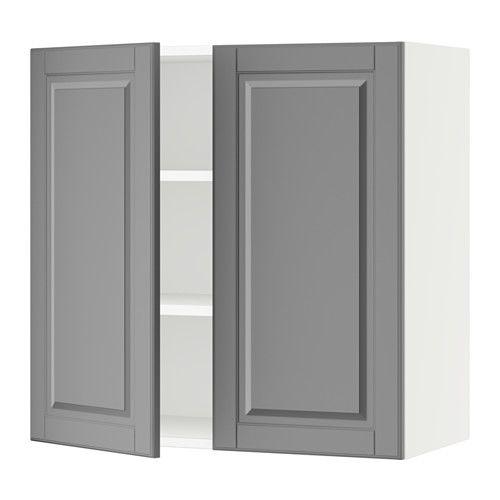 Sektion armoire murale 2 portes blanc bodbyn gris for Ikea portes d armoires