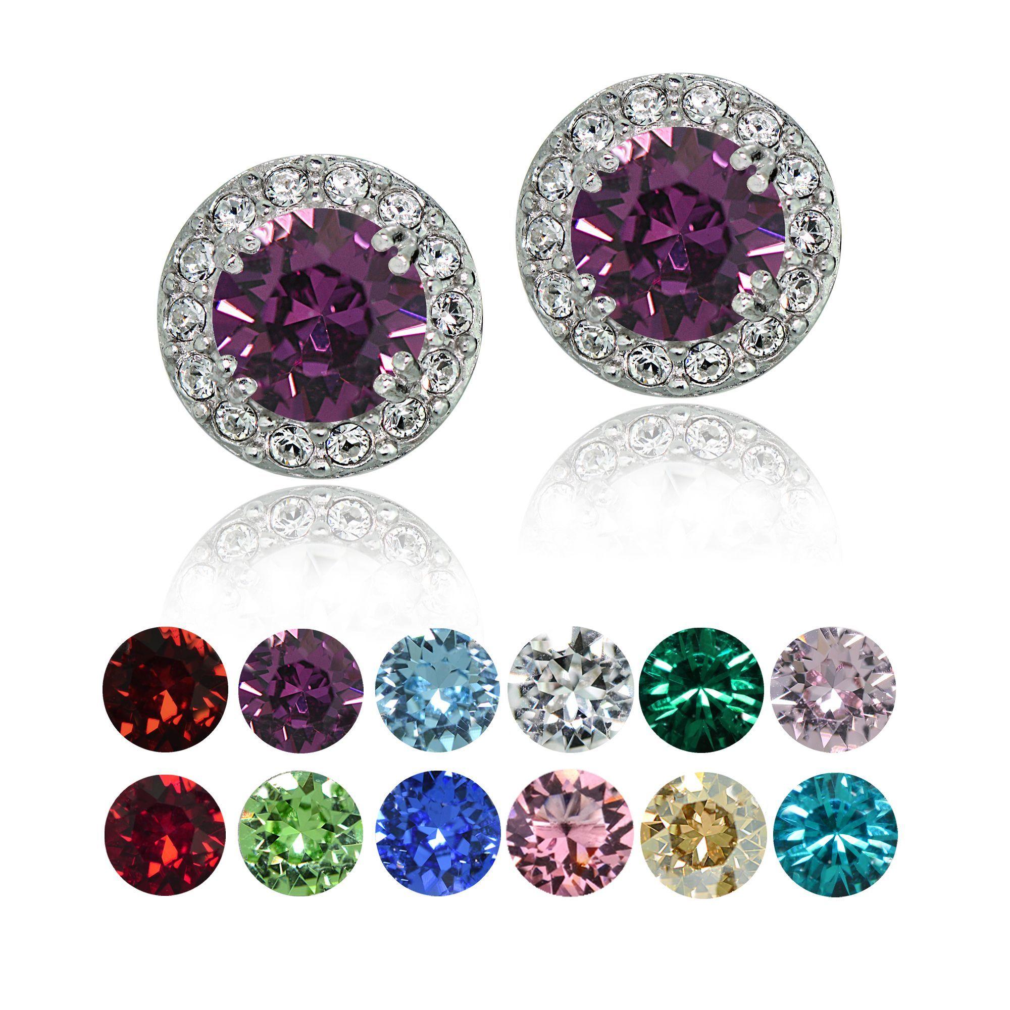 e1bae15ef397db Crystal Ice Sterling Silver Swarovski Elements Birthstone Halo Stud Earrings  (August - Peridot)