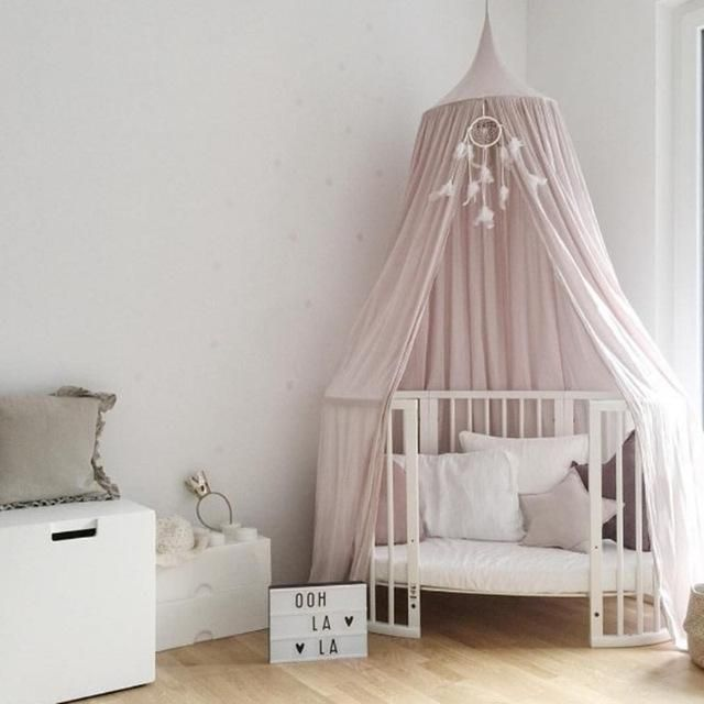 Childrens Room Bed Round White Lace Mosquito Net Decoration Playtent Princess Hung Dome Bed Curtain Tent Hanging Kids Teepees Crib Netting Baby Bedding
