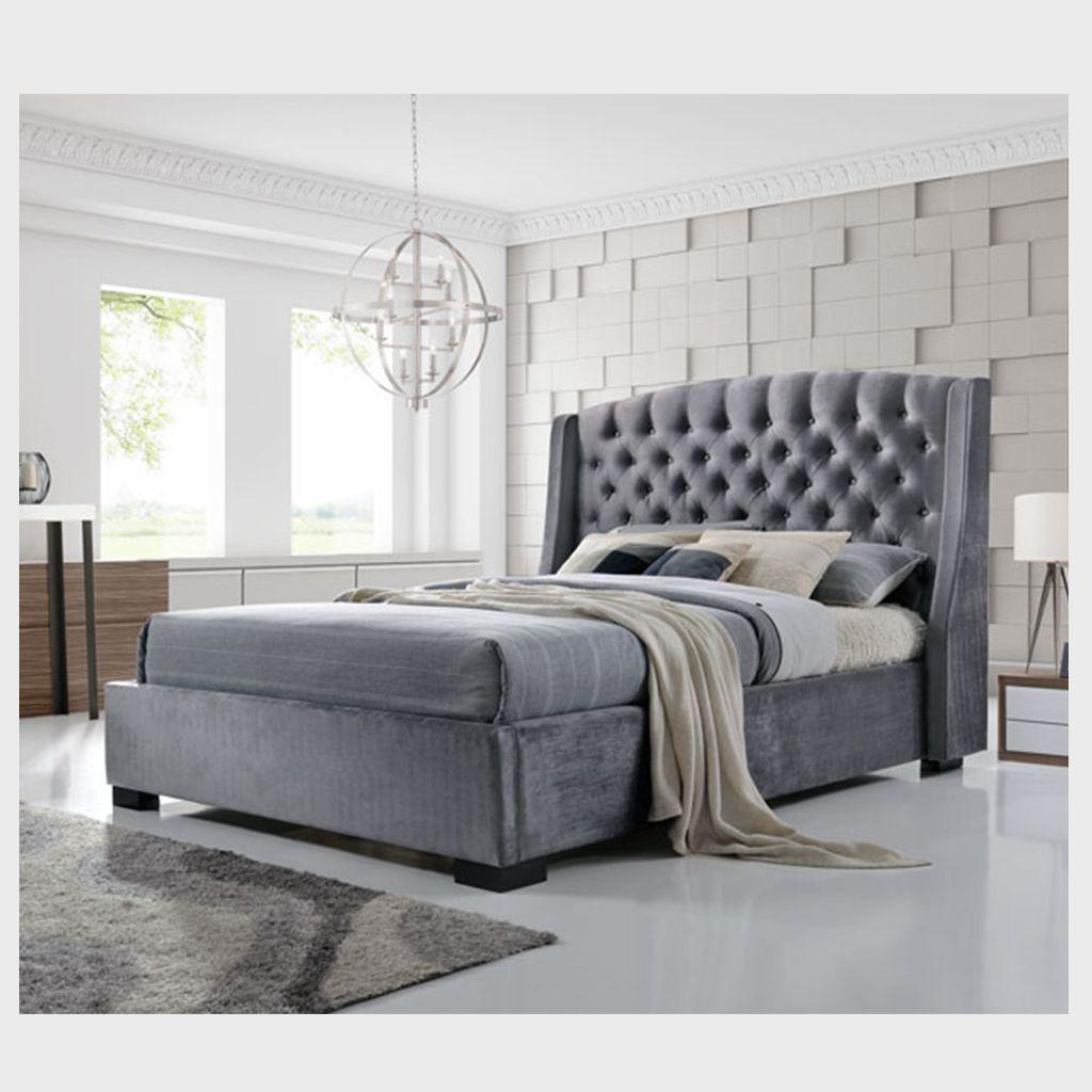 Lincoln Plush Velvet Bed Frame Velvet Bed Frame Ottoman Storage