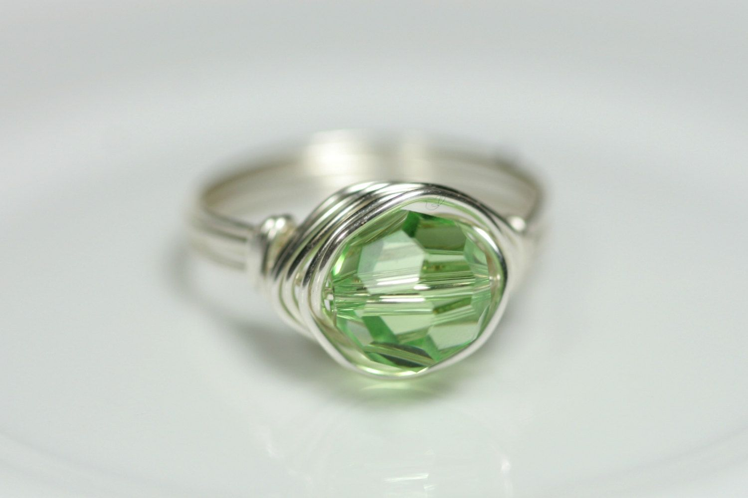 b14d7d504 Wire Wrapped Jewelry · Peridot Ring Swarovski Ring, Swarovski Crystals, Green  Rings, Handmade Sterling Silver, Sterling