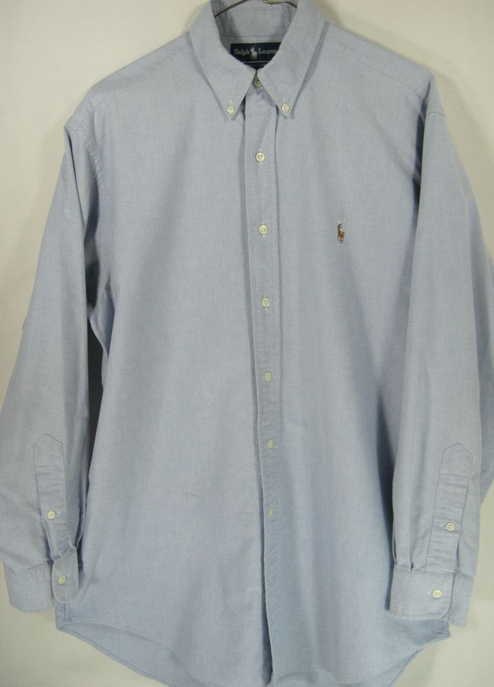 Ralph lauren Men Button Front Long Sleeve Shirt Size 16-33 Blue Cotton Oxford. #RalphLauren #ButtonFront