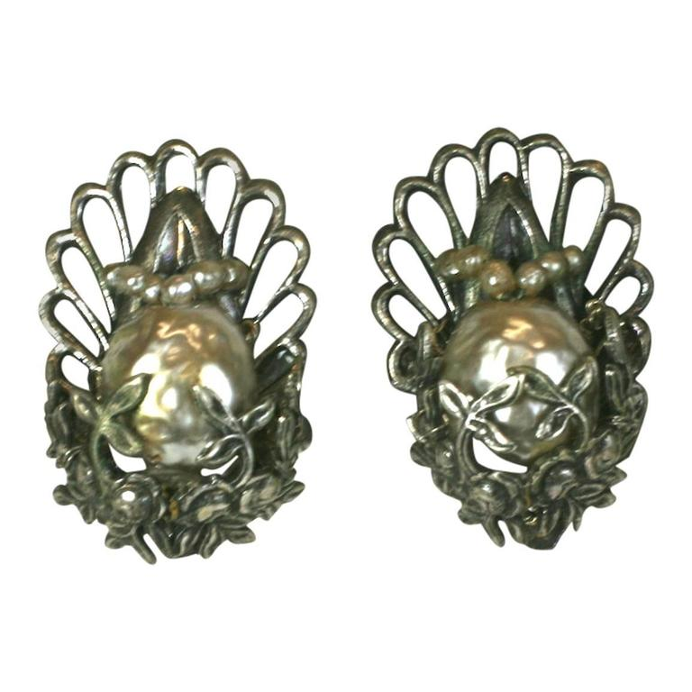 Miriam Haskell Silver Gilt and Pearl Earclips | From a unique collection of vintage clip-on earrings at https://www.1stdibs.com/jewelry/earrings/clip-on-earrings/