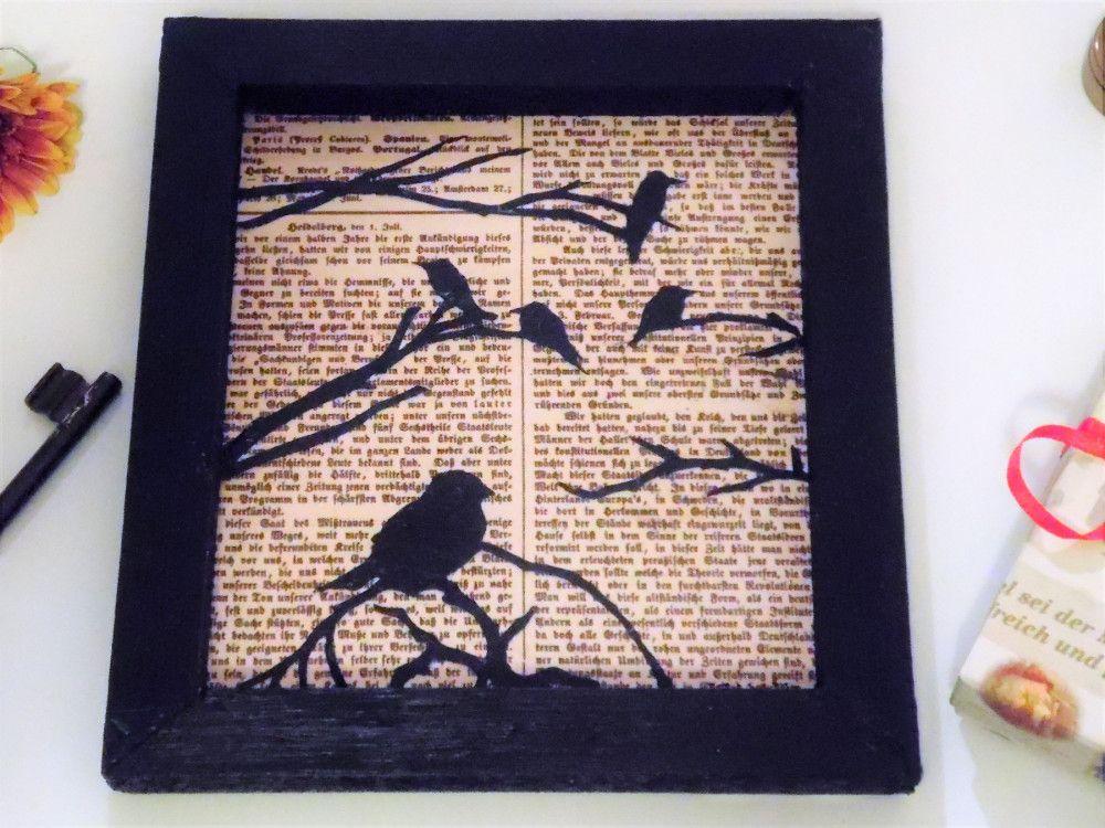 Selbst gemachter Bilderrahmen mit DIY-Bildmotiv mit Vögeln | Bastel ...