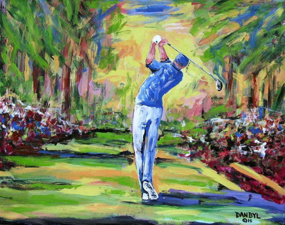 Golf Masters Original Art Painting Dan Byl Modern Contemporary Fine Canvas 4x5ft Golf Art Original Art Painting Painting