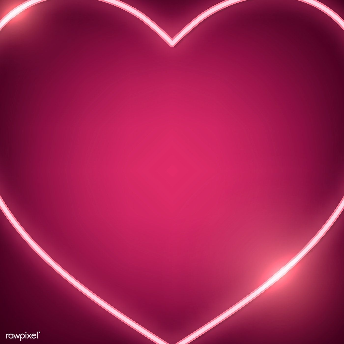 Neon light heart icon on pink background free image by