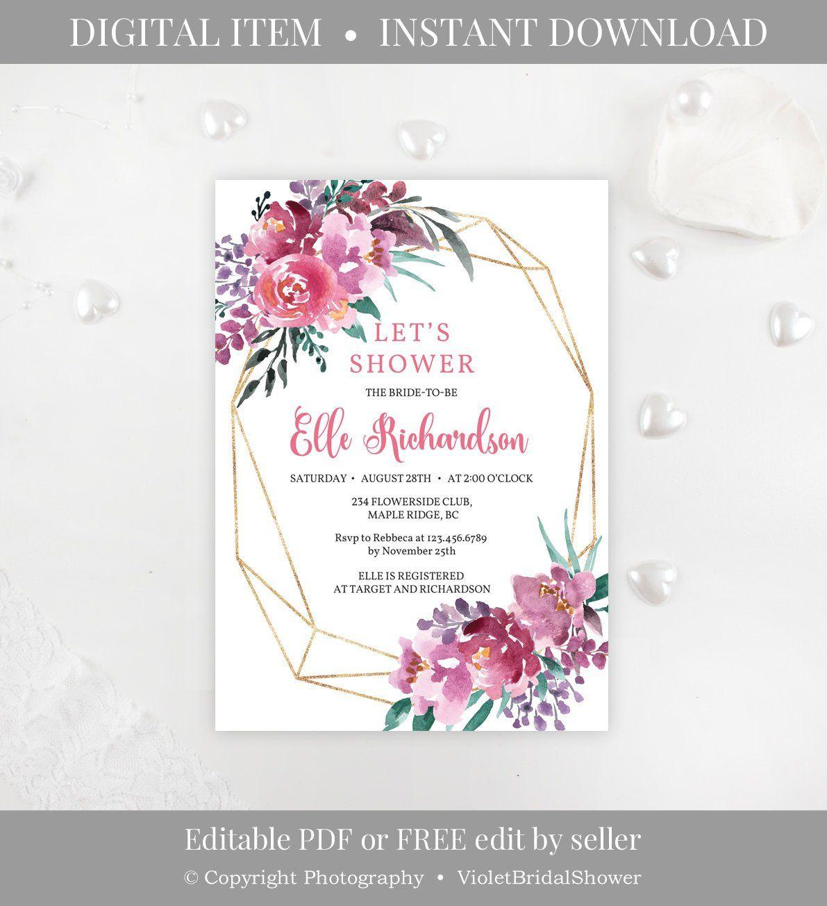 Pink And Purple Bridal Shower Invitation Template Printable Modern Wedding Invitation Wording Bridal Shower Invitation Cards Sample Wedding Invitation Wording