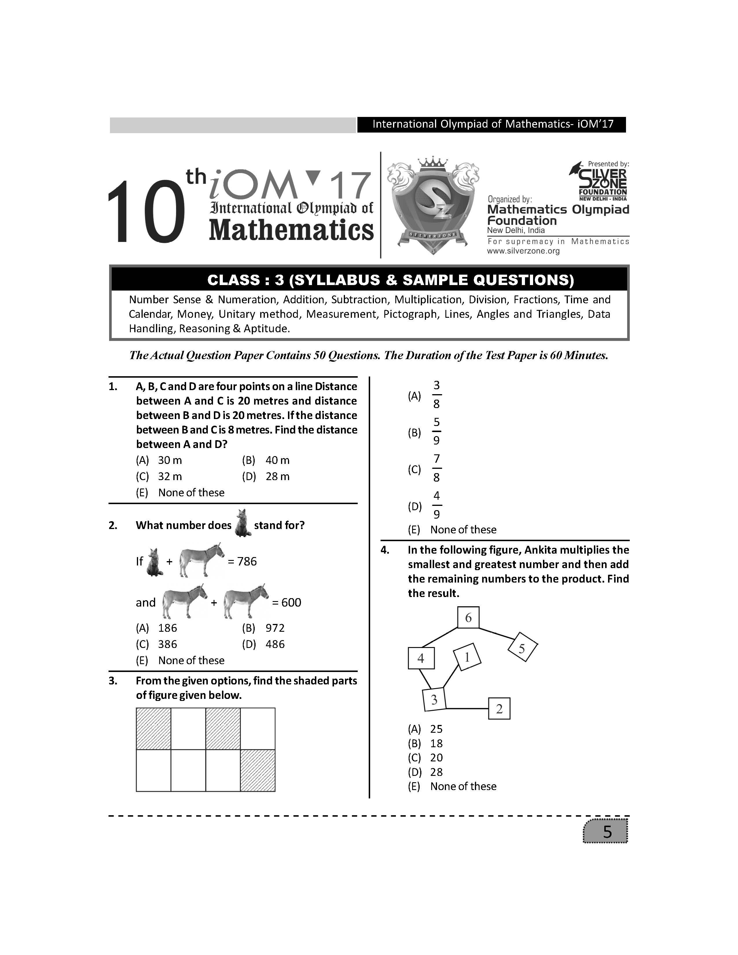Class 3 Iom Sample Paper And Syllabus As Issued By