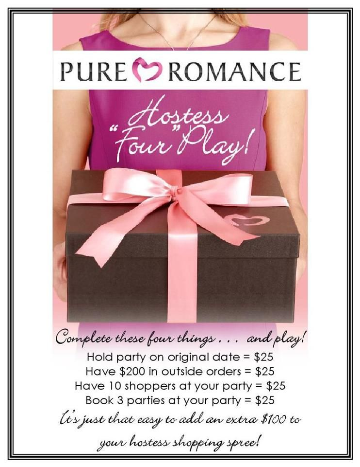 Pure Romance Hostess Four Play...Book your Pure Romance party with me @ Pure Romance By Alissa B on Facebook or call/text 828/290/3411
