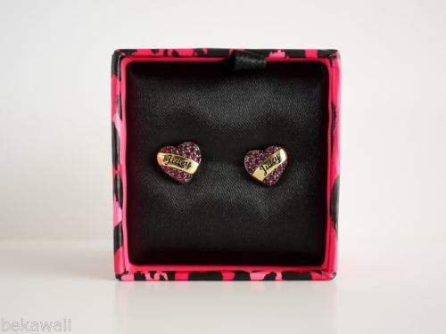 NIB Juicy Couture Pave Heart Stud Earring Fuschia YJRU7511