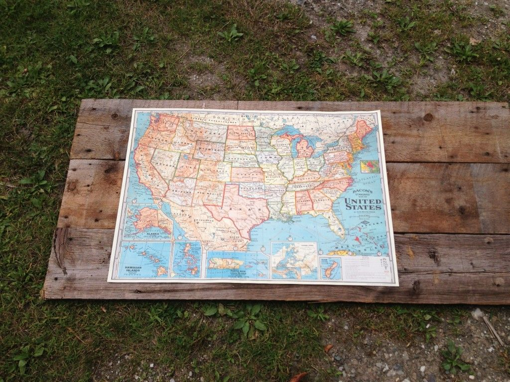 How to Wall Map Project using Reclaimed Vintage wood at www.madriverbarn.com  Made by Joanne Palmisano at www.salvagesecretsdesign.com