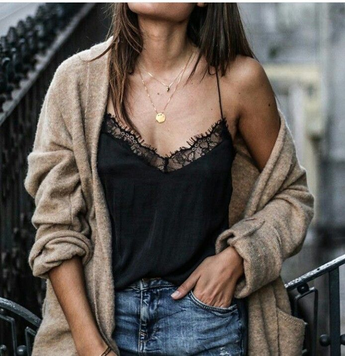 classic cami with classic necklace